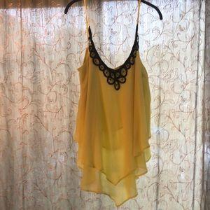 Neon yellow/green chiffon blouse